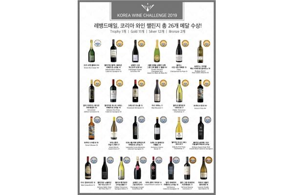 레뱅드매일, 제15회 '코리아와인챌린지 2019' 26개 메달 수상